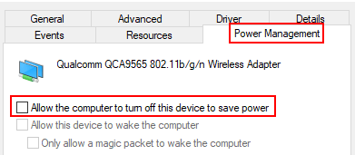 Uncheck Power Managent