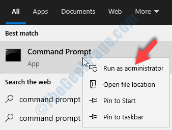 Start Search Command Prompt Right Click Run As Administrator