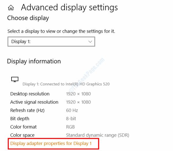 Advanced Display Settings