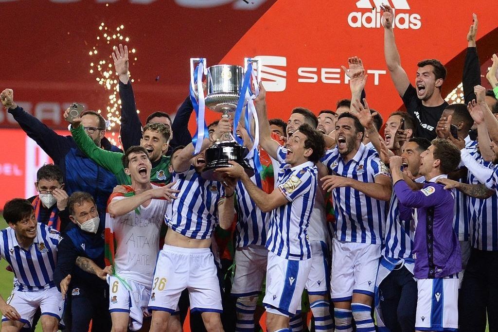 Real Sociedad festeggia dopo la vittoria della Copa del Rey