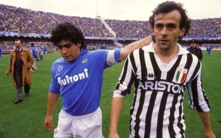 Maradona e Platini dopo un Juventus-Napoli
