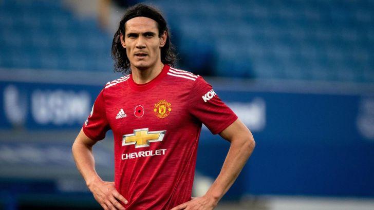 Cavani con la maglia del Manchester United