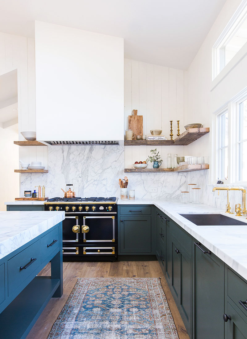 runner rug in a blue kitchen