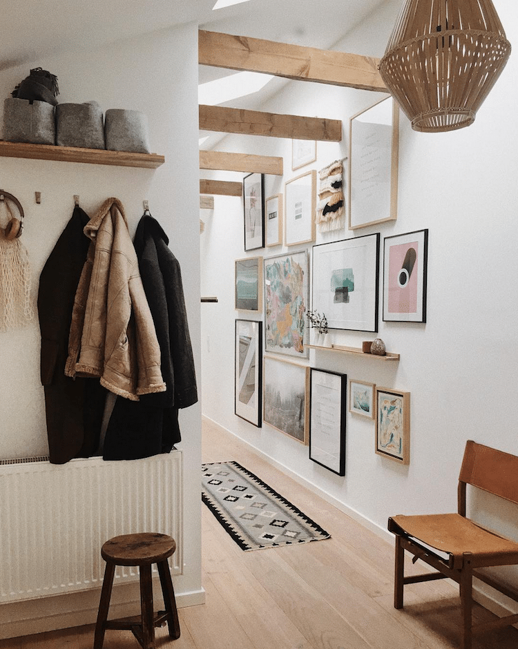 art prints in an entryway