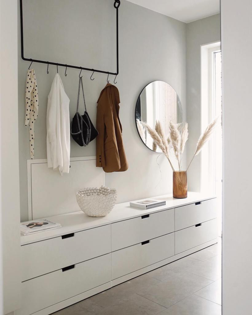 nordli storage system by IKEA used as an entryway bench