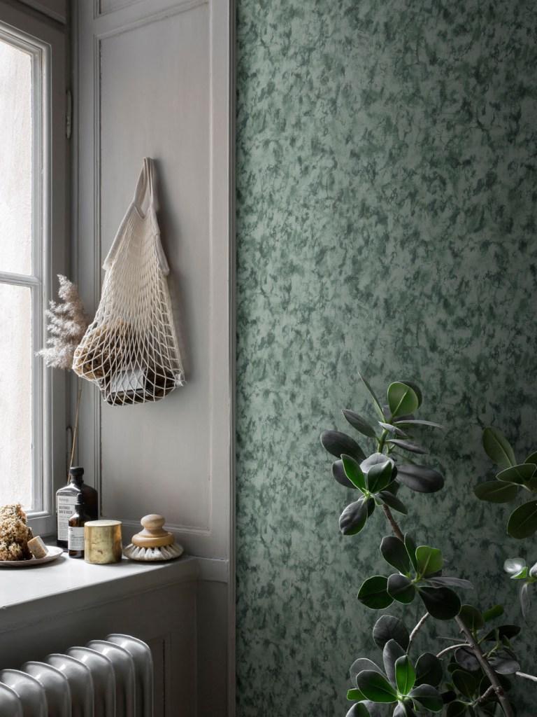 Decorating with wallpaper sandberg hannes dark green