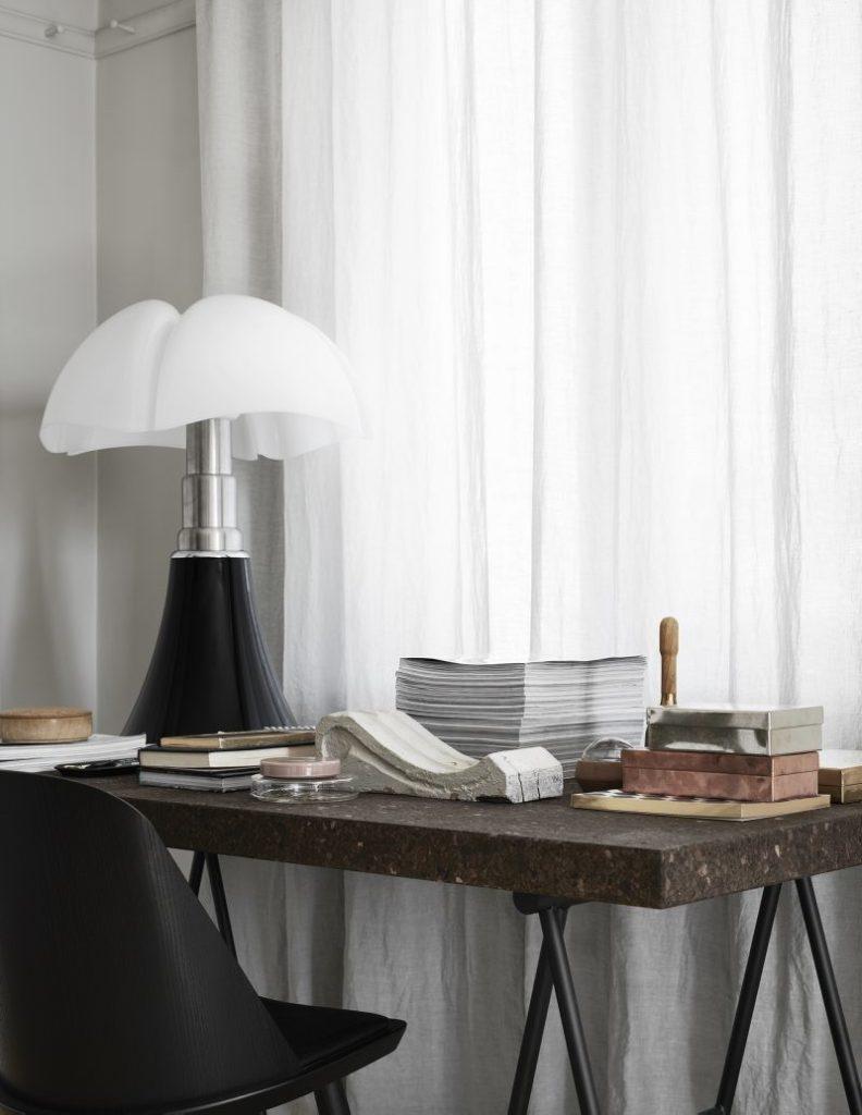 home office desk with pipistrello lamp