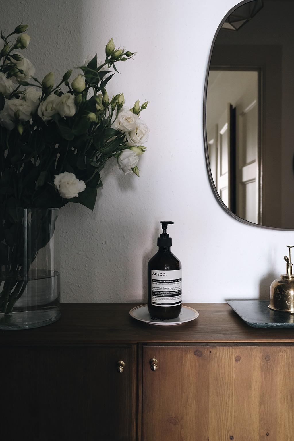 staining ikea ivar cabinets - detail aesop hand cream
