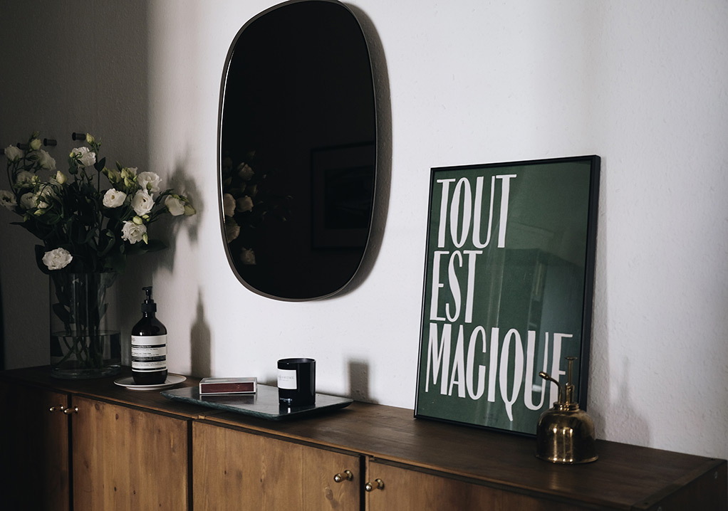 how to stain Ikea Ivar cabinet - hotel magique print