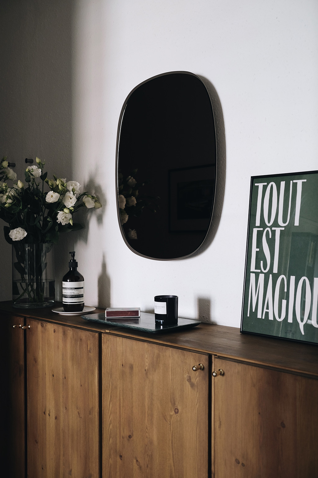 staining ikea ivar cabinets - hotel magique print candle and flowers