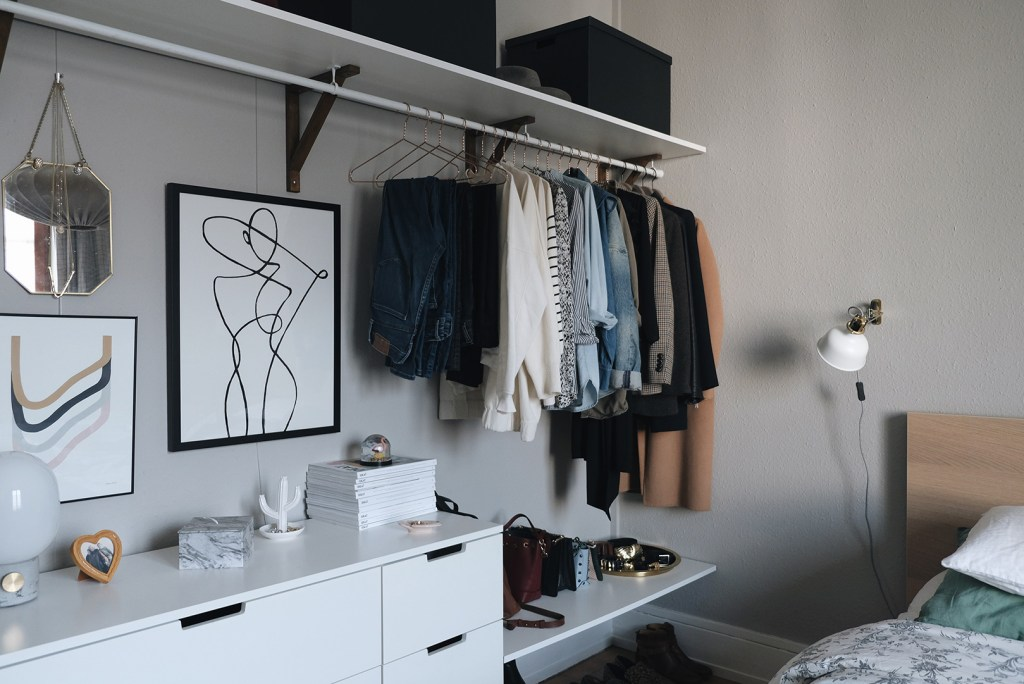 small space closet organization: open closet