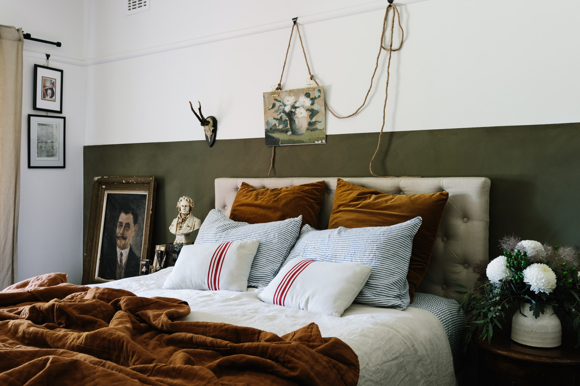 Headboard idea: layered headboard paint + tufted headboard