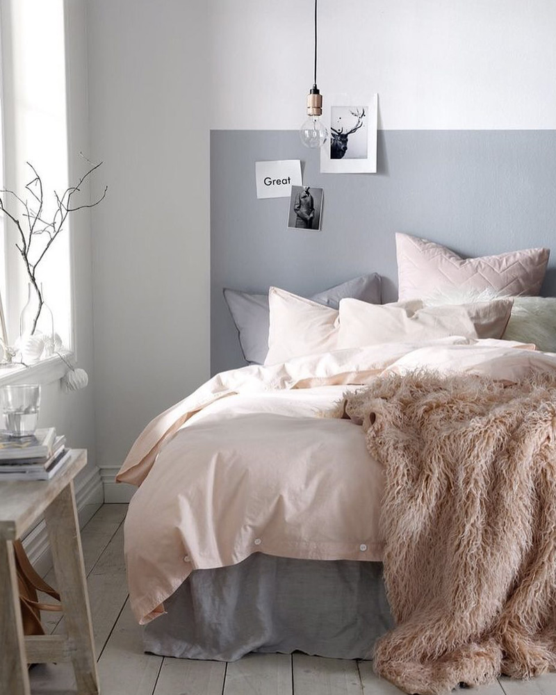 grey painted headboard bedroom
