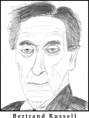 Bertrand Russell Sketch by M.R.P. - radical skepticism - superknowledge
