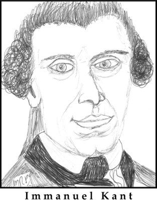 Immanuel Kant Sketch by M.R.P. - is-ought problem - David Hume - moral anti-realism