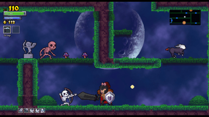 Rogue Legacy screenshot with forest - Cellar Door Games - remix bosses - nonlinear difficulty scaling