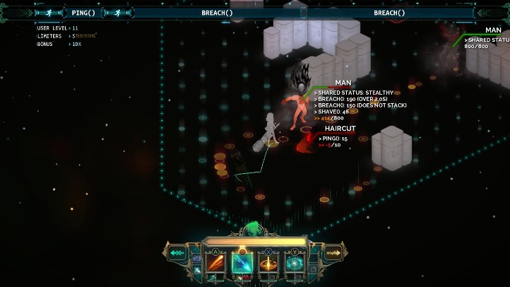 Transistor screenshot with combat planning turn - analysis and criticism of Transistor's plot - story, narrative