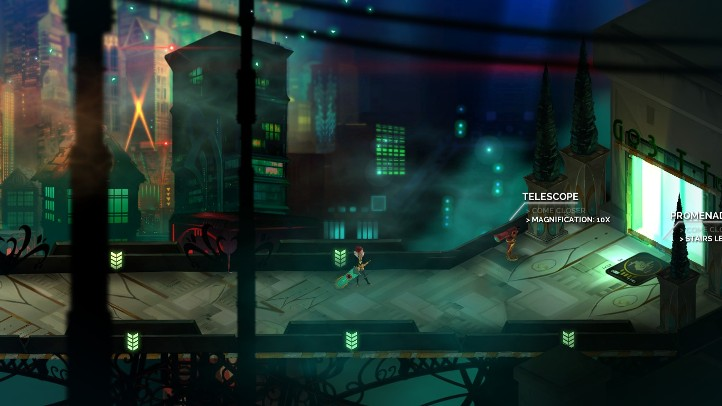 Transistor screenshot with ordinary thoroughfare - analysis and criticism of Transistor's plot - story, narrative