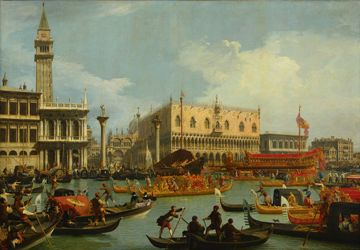 Bucentaur's return to the pier by the Palazzo Ducale by Canaletto - A Toccata of Galuppi's - Robert Browning - art, time, death, commodity
