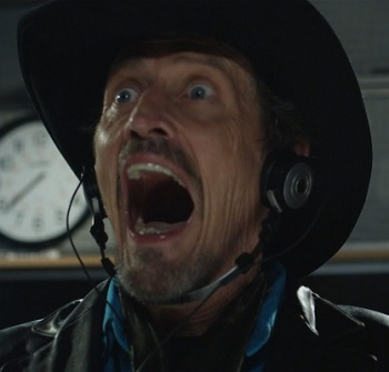 Pontypool movie still with Stephen McHattie as Grant Mazzy - movie review analysis - Dr. John Mendez