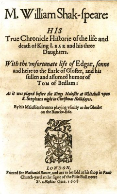 King Lear title page from first quarto - William Shakespeare - Act II Scene iv - Act 2 Scene 4 - repetition, meter, speech, analysis