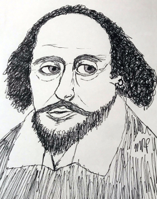 William Shakespeare Sketch by M.R.P. - King Lear Act II Scene iv - Act 2 Scene 4 - repetition, meter, speech, analysis