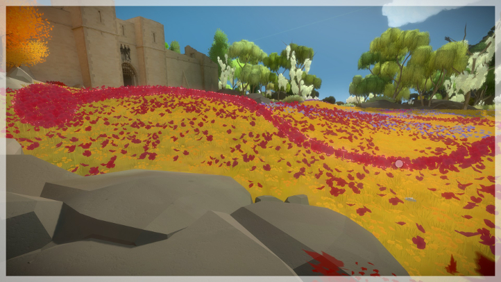 The Witness screenshot with environmental puzzle in flowerbed - Jonathan Blow, Thekla - analysis, deconstruction, meditation