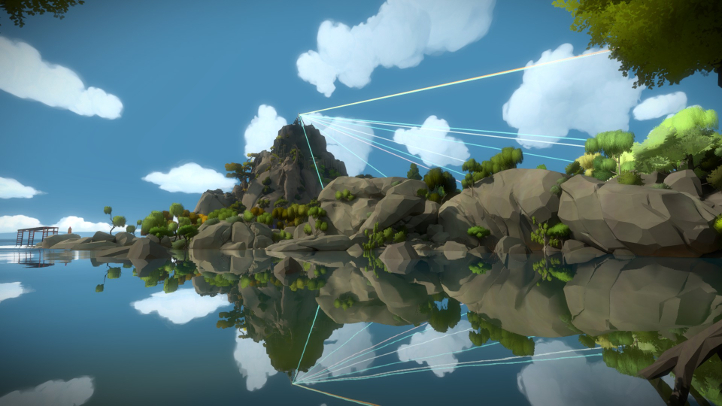 The Witness screenshot with rocks forming kneeling figure - Jonathan Blow, Thekla - analysis, deconstruction, meditation