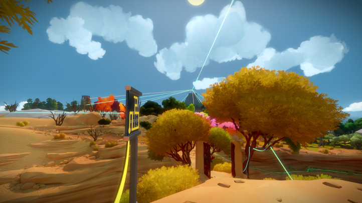 The Witness screenshot with coastal view of mountain - Jonathan Blow, Thekla - analysis, deconstruction, meditation
