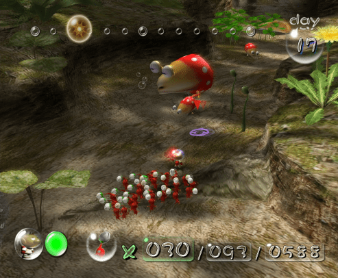 Pikmin screenshot with bulborb and red pikmin - Nintendo, Pikmin 2, comparison, analysis