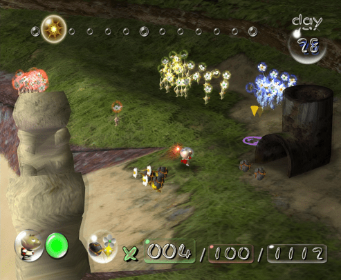 Pikmin screenshot with separated groups of dismissed pikmin - Nintendo, Pikmin 2, comparison, analysis