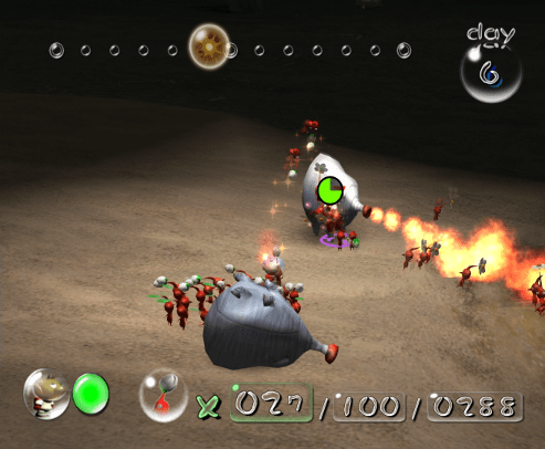Pikmin screenshot with red pikmin in combat - Nintendo, Pikmin 2, comparison, analysis