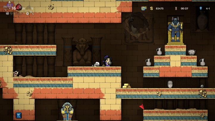 Spelunky 2 screenshot with Airyn in Temple near Anubis - achievements