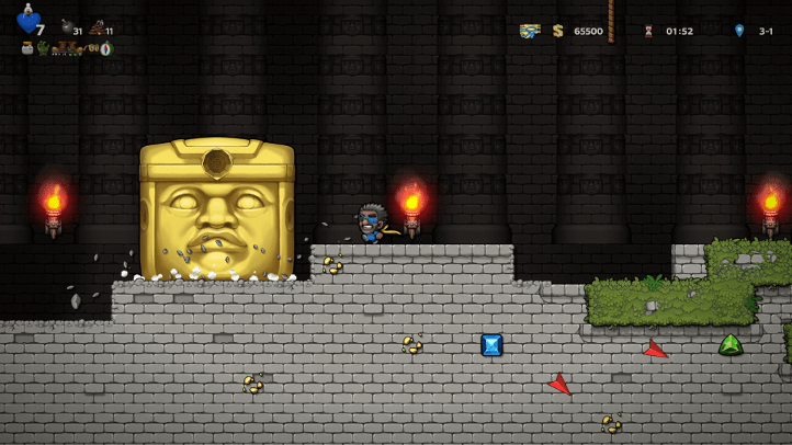 Spelunky 2 screenshot with Manfred fighting Olmec - achievements