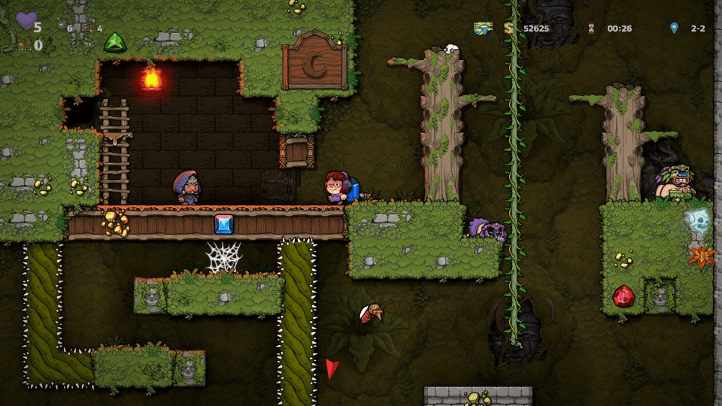 Spelunky 2 screenshot with Valerie approaching Tun and Moon Challenge in Jungle - achievements