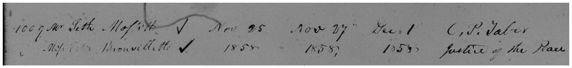 MAFFIT, Seth & Esther Brouillette, 1858 Marriage Register - zoom
