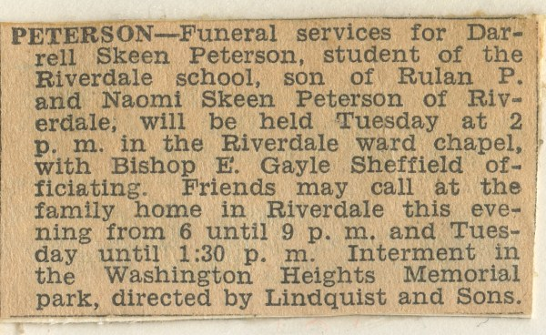 PETERSON, Darrell Skeen, Funeral Announcement, 24 November 1947