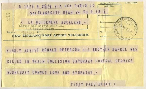 PETERSON, Ronald Skeen, 1947 Telegram notifying Darrells death