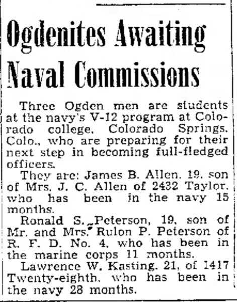 PETERSON, Ronald Skeen, awaiting Commission, The Ogden Standard Examiner Thu May 31 1945