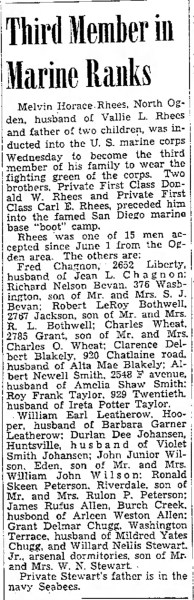 PETERSON, Ronald Skeen, Marines enlistment, The Ogden Standard Examiner Fri Jun 16 1944