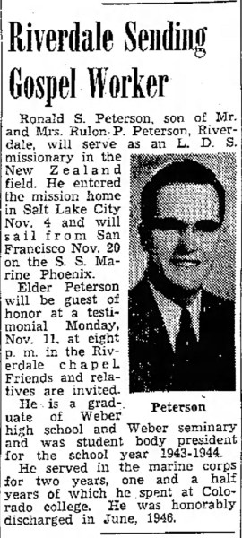 PETERSON, Ronald Skeen, missionary, The Ogden Standard Examiner Sat Nov 9 1946