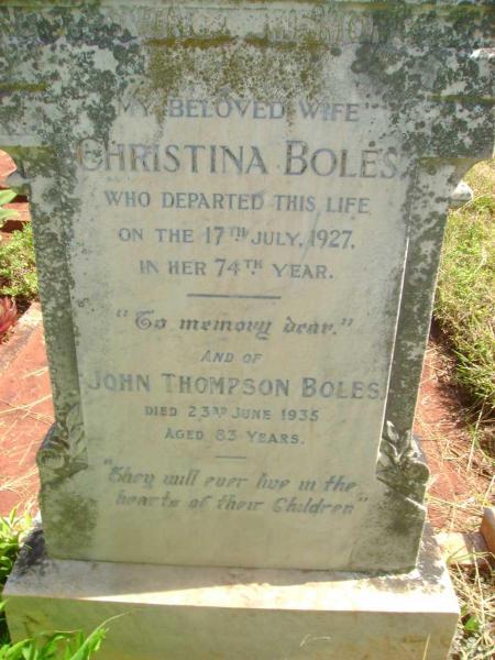 BOLES, John Thompson & Christina, headstone