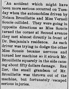 BROUILLETTE, Nelson, 1919 Car accident article - crop