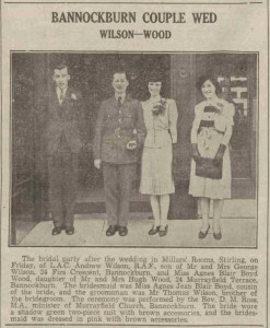 WOOD, Agnes Blair Boyd and Andrew Wilson newspaper article about wedding, crop