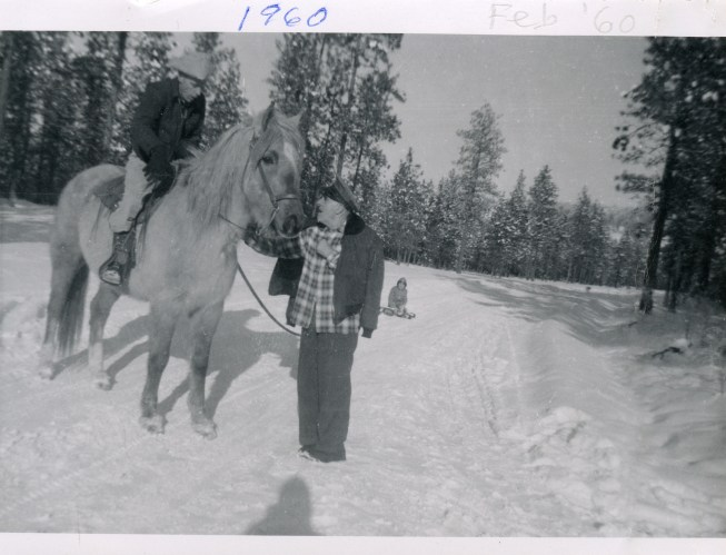 COSTELLO, John & Dan, Feb 1960 with horse