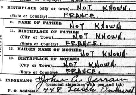 John B. Jerrain, 1930 Death Record
