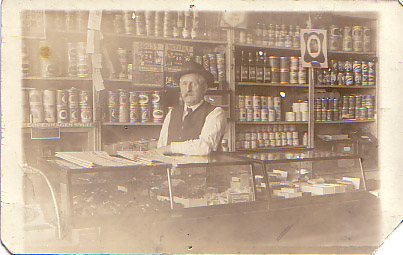 John Baptiste Jerrain, In his store, 1910