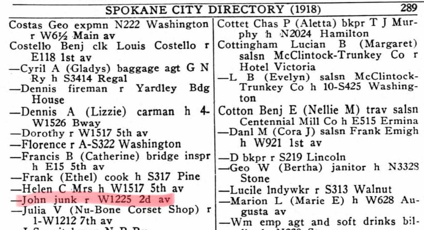 COSTELLO, John, 1918 Spokane City Directory