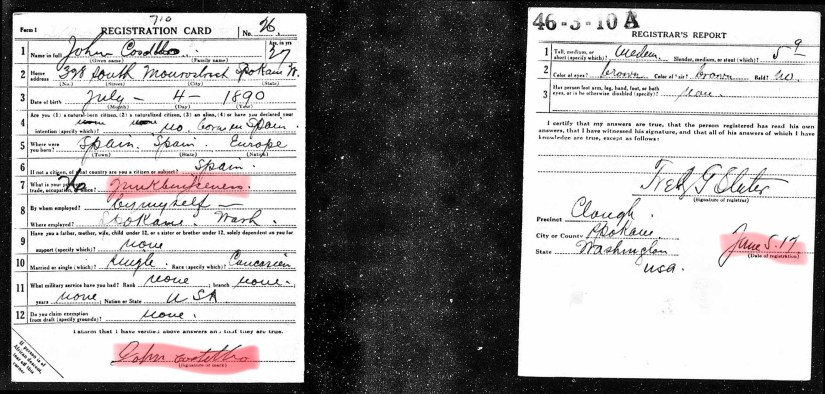 COSTELLO, John, WWI Draft Registration with highlights