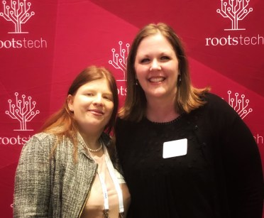Marie Cappart & I after the RootsTech Media Dinner